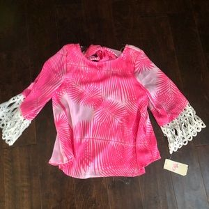 Pink and White Palm Leaf Blouse
